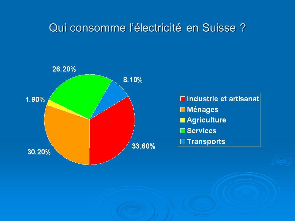 Qui consomme l'électricité en Suisse