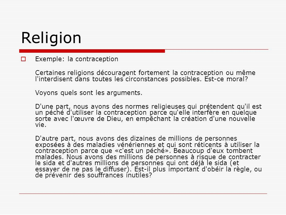 Religion Exemple: la contraception