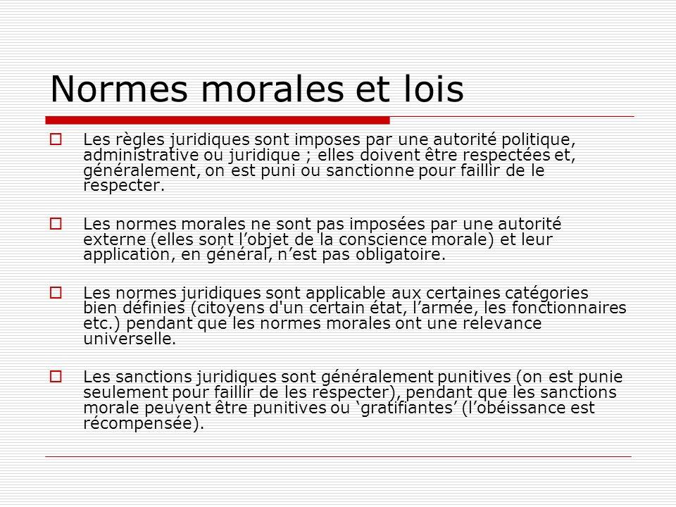 Normes morales et lois
