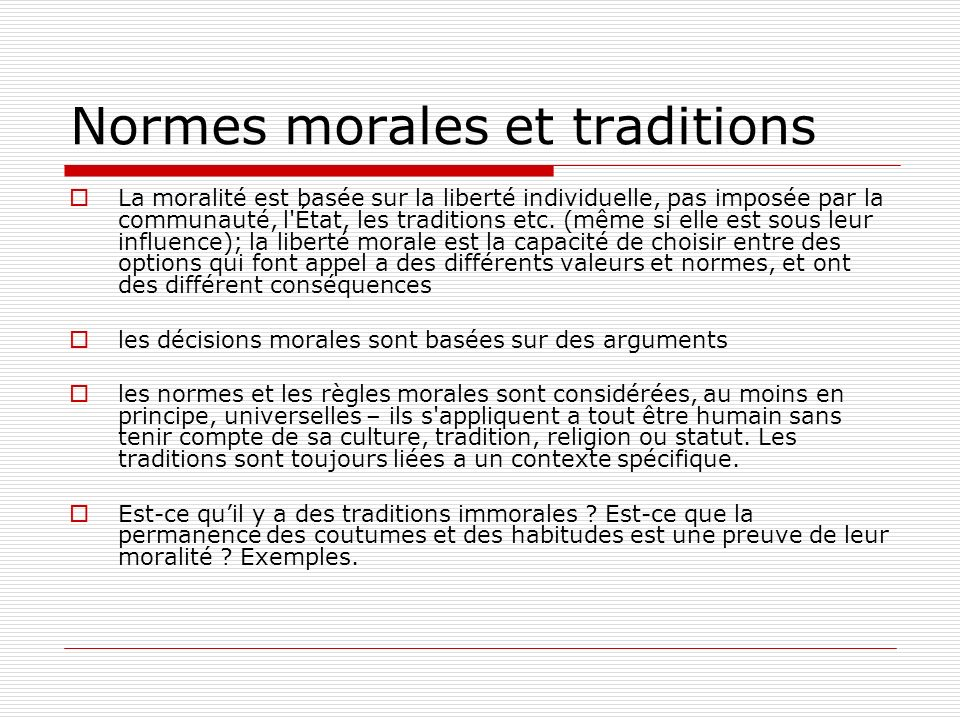 Normes morales et traditions