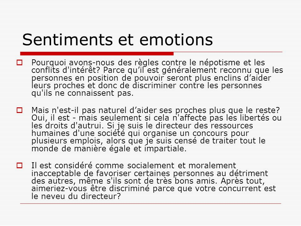 Sentiments et emotions