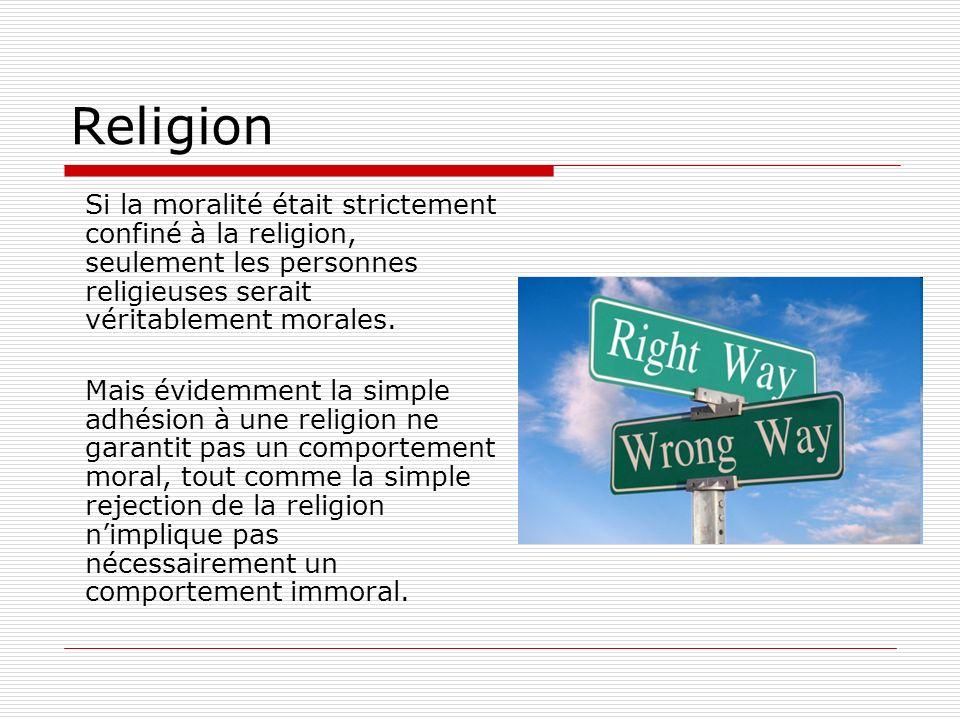 ReligionSi la moralité était strictement confiné à la religion, seulement les personnes religieuses serait véritablement morales.
