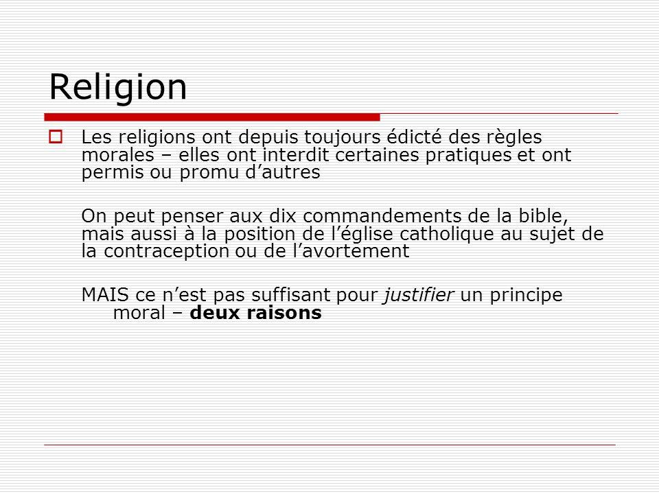 Religion Les religions ont depuis toujours édicté des règles morales – elles ont interdit certaines pratiques et ont permis ou promu d'autres.