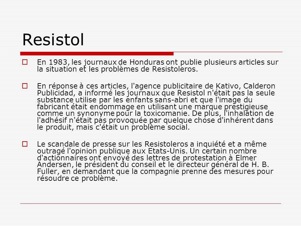 Resistol En 1983, les journaux de Honduras ont publie plusieurs articles sur la situation et les problèmes de Resistoleros.