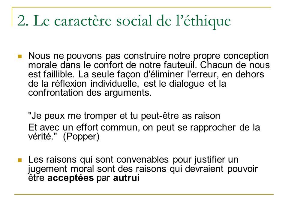 2. Le caractère social de l'éthique