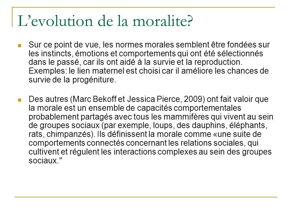 L'evolution de la moralite