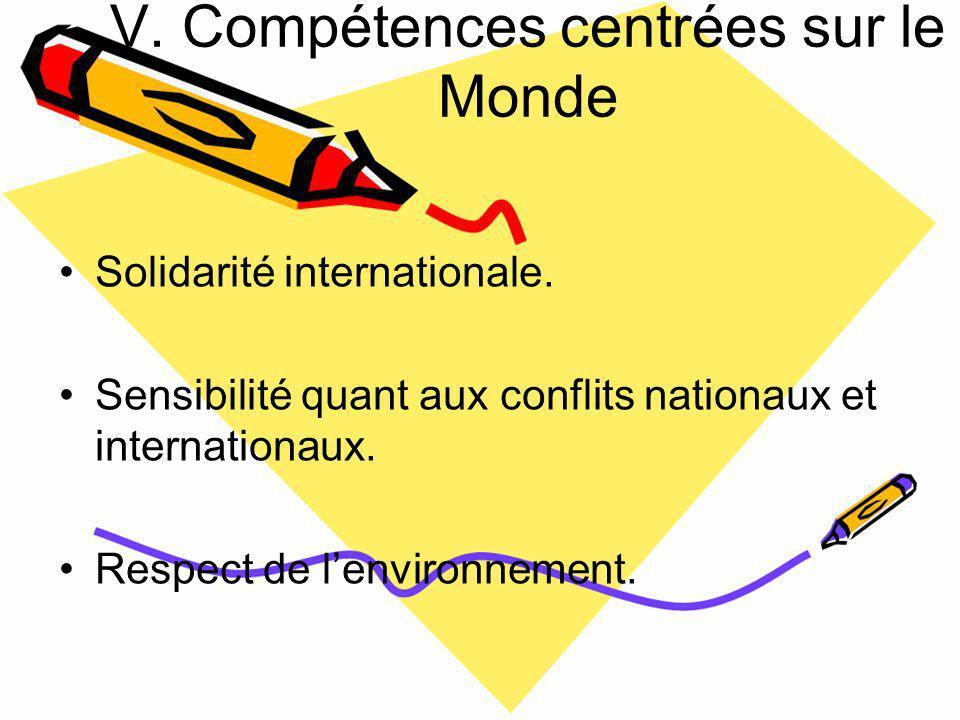 V. Compétences centrées sur le Monde