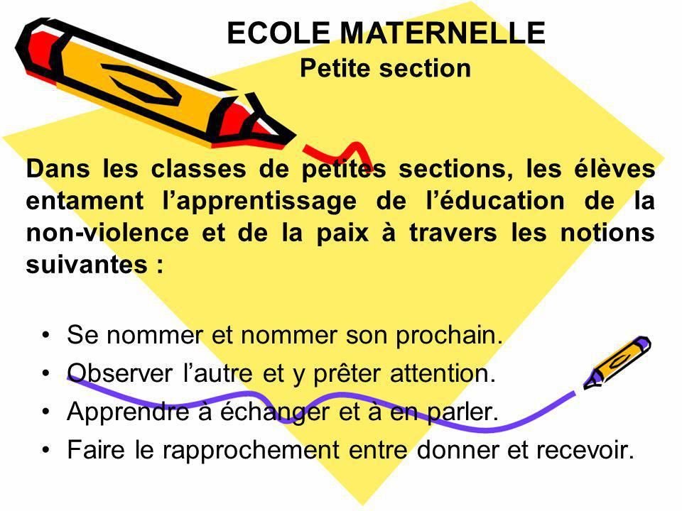 ECOLE MATERNELLE Petite section