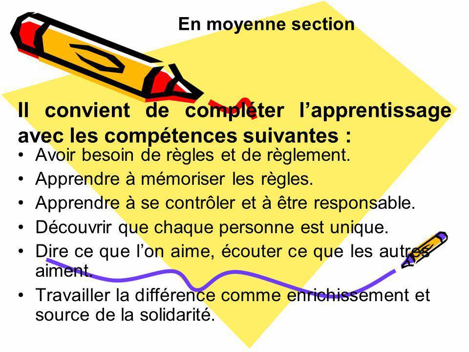 En moyenne section Il convient de compléter l'apprentissage avec les compétences suivantes : Avoir besoin de règles et de règlement.