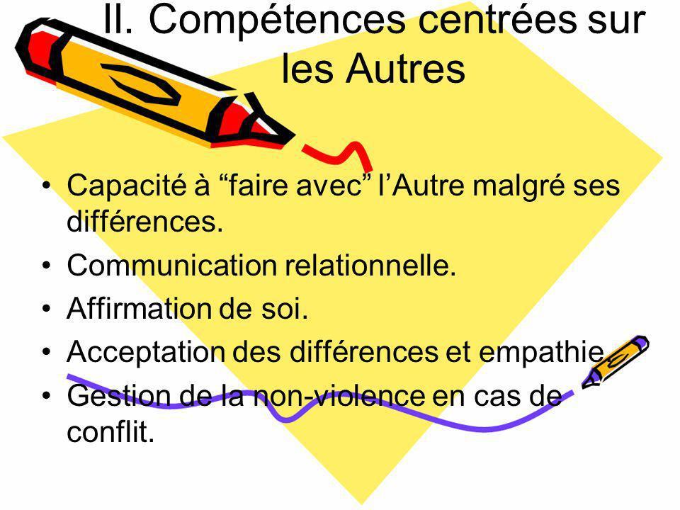 II. Compétences centrées sur les Autres