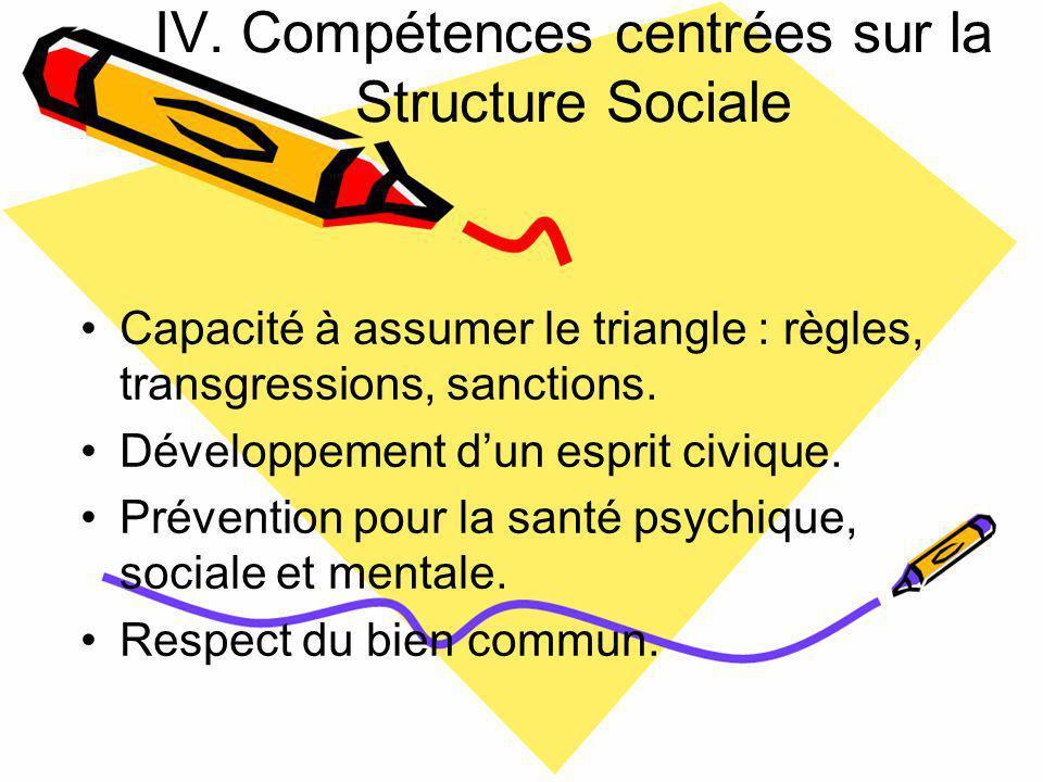 IV. Compétences centrées sur la Structure Sociale