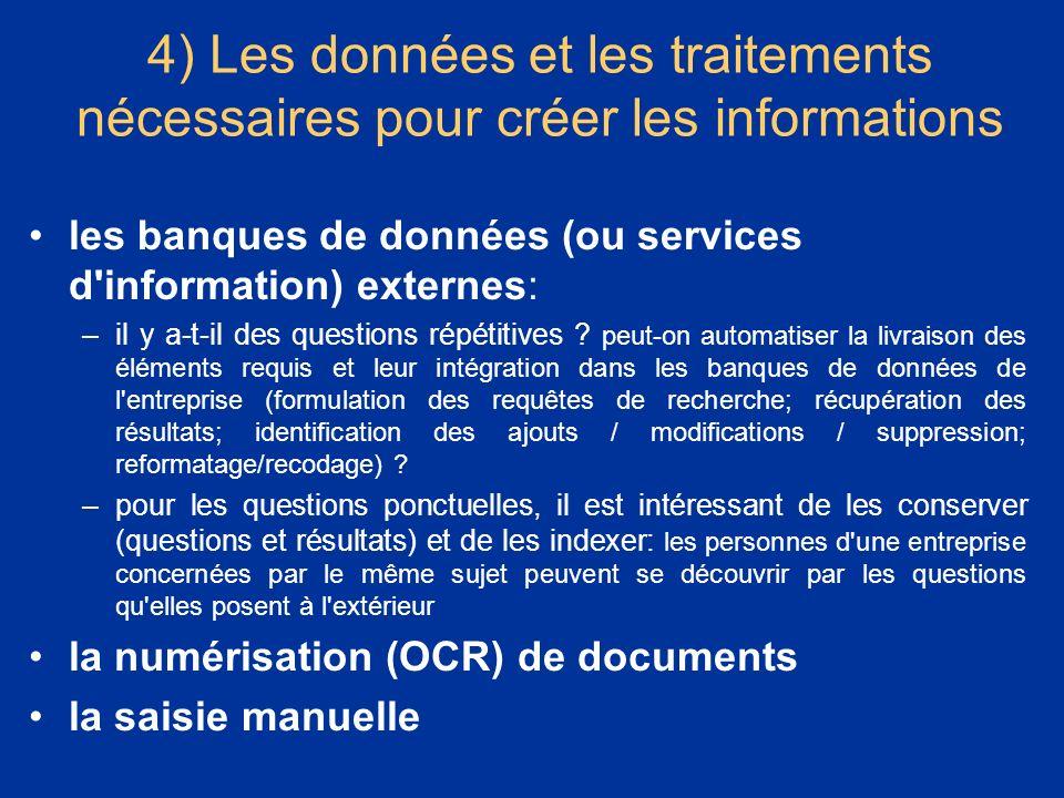 * 07/16/96. 4) Les données et les traitements nécessaires pour créer les informations. les banques de données (ou services d information) externes: