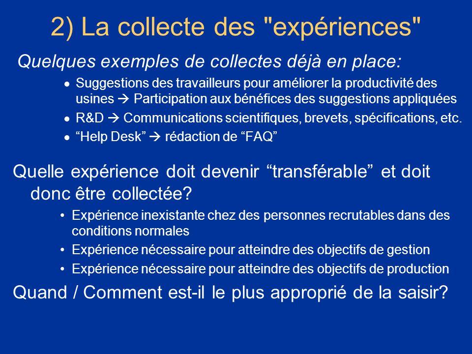 2) La collecte des expériences