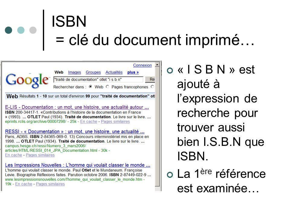 ISBN = clé du document imprimé…