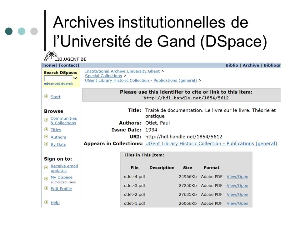 Archives institutionnelles de l'Université de Gand (DSpace)