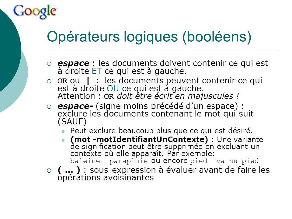 Opérateurs logiques (booléens)