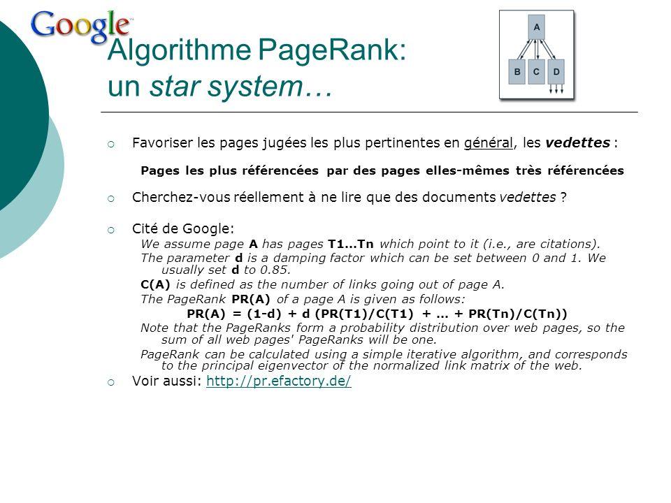 Algorithme PageRank: un star system…