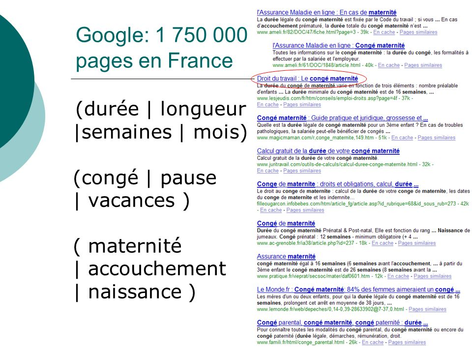 Google: 1 750 000 pages en France