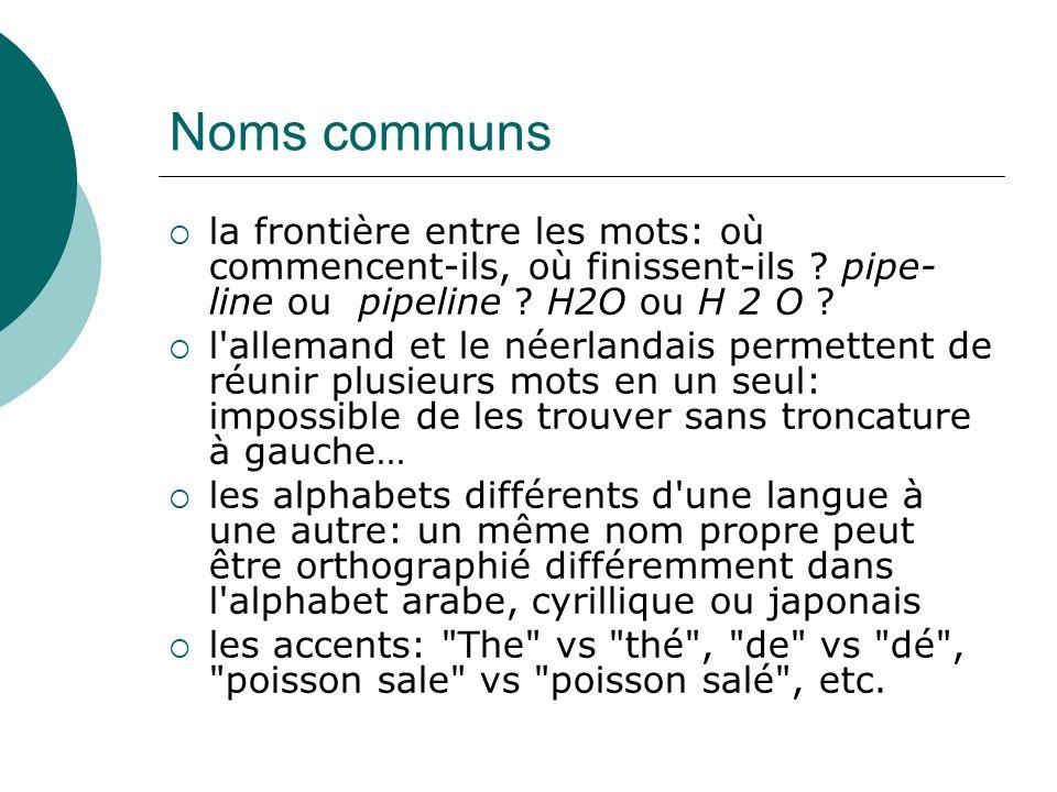 Noms communs la frontière entre les mots: où commencent-ils, où finissent-ils pipe-line ou pipeline H2O ou H 2 O