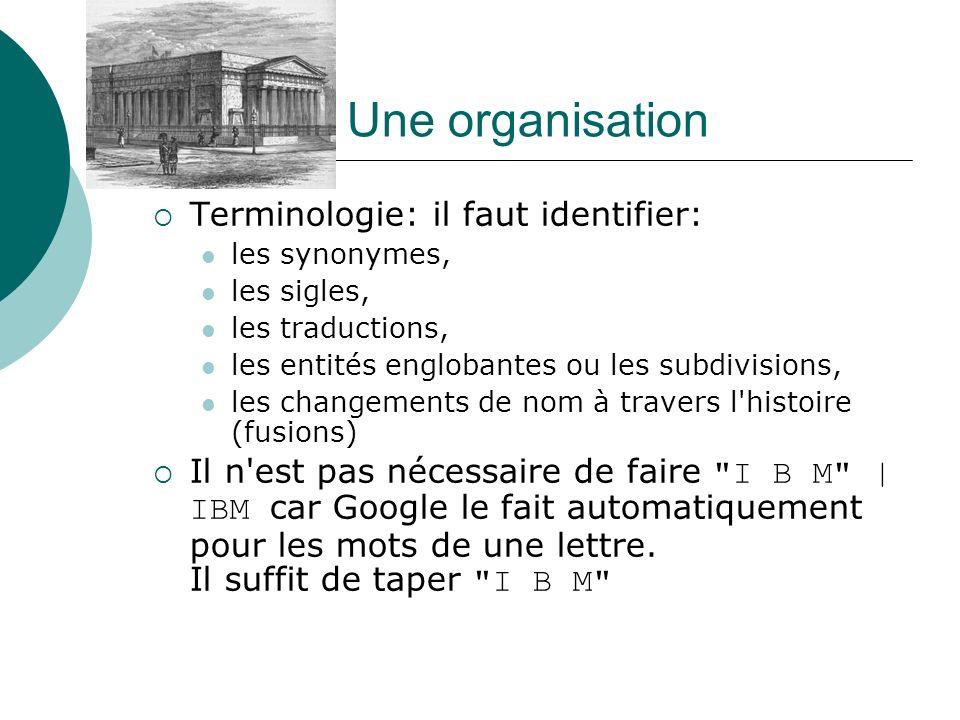Une organisation Terminologie: il faut identifier: