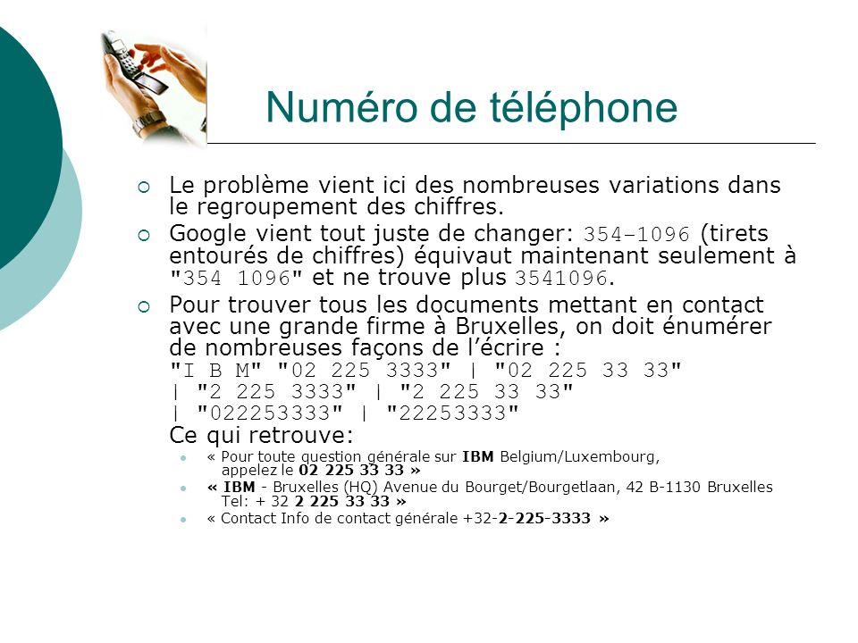 Numéro de téléphone Le problème vient ici des nombreuses variations dans le regroupement des chiffres.