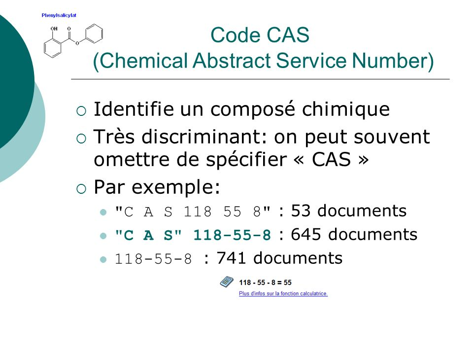 Code CAS (Chemical Abstract Service Number)