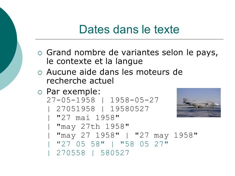 Dates dans le texte Grand nombre de variantes selon le pays, le contexte et la langue. Aucune aide dans les moteurs de recherche actuel.