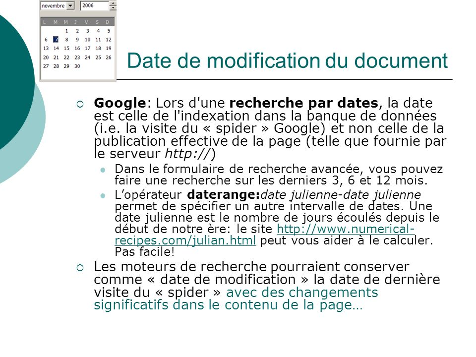 Date de modification du document