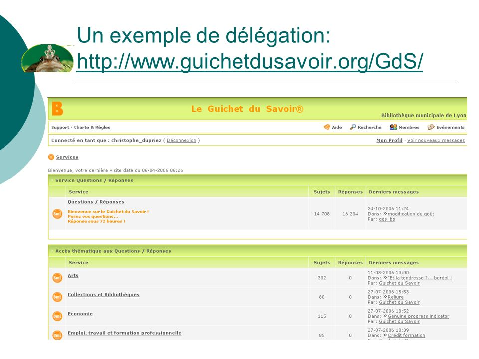 Un exemple de délégation: http://www.guichetdusavoir.org/GdS/