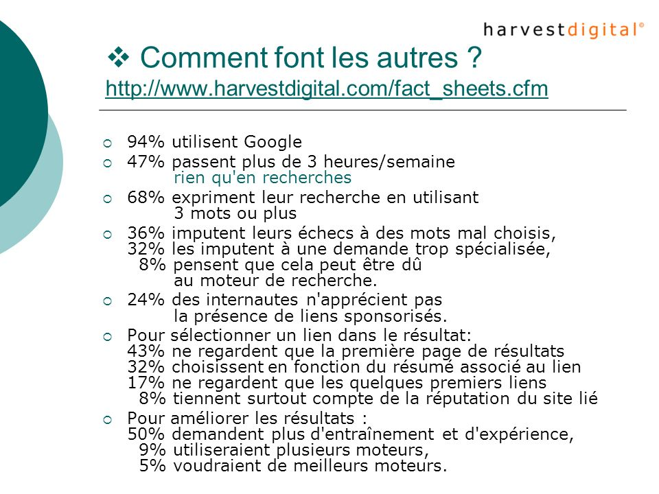  Comment font les autres. http://www. harvestdigital. com/fact_sheets