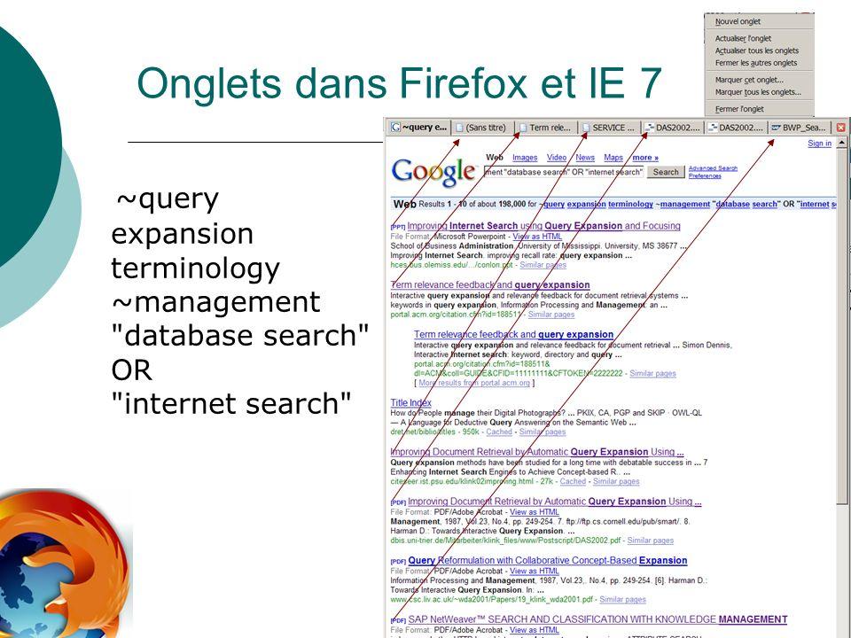 Onglets dans Firefox et IE 7