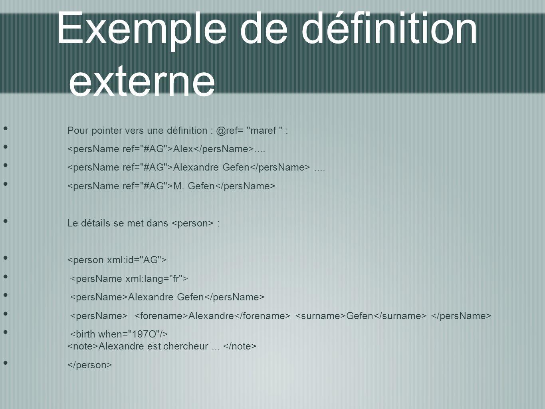 Exemple de définition externe