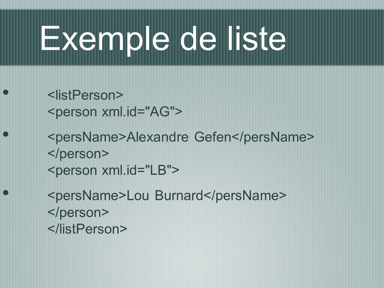 Exemple de liste <listPerson> <person xml.id= AG >