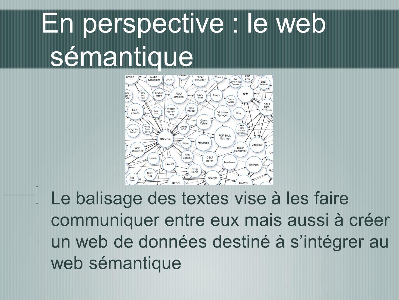 En perspective : le web sémantique