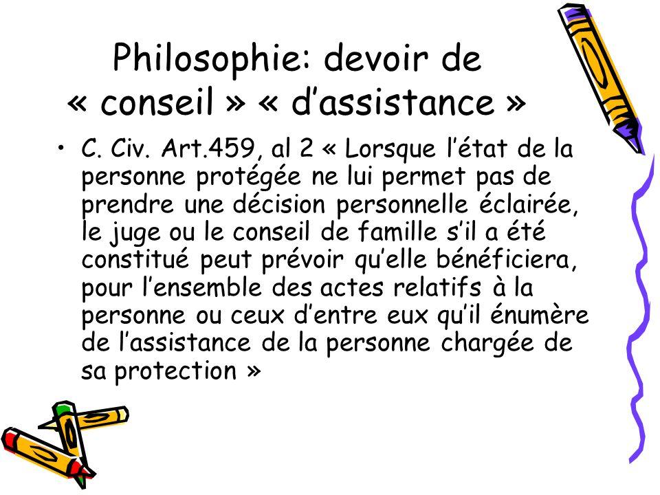 Philosophie: devoir de « conseil » « d'assistance »