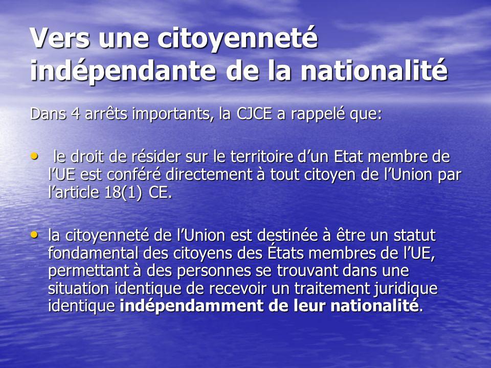 Vers une citoyenneté indépendante de la nationalité