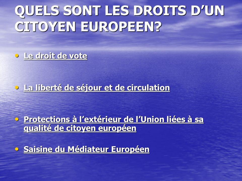 QUELS SONT LES DROITS D'UN CITOYEN EUROPEEN