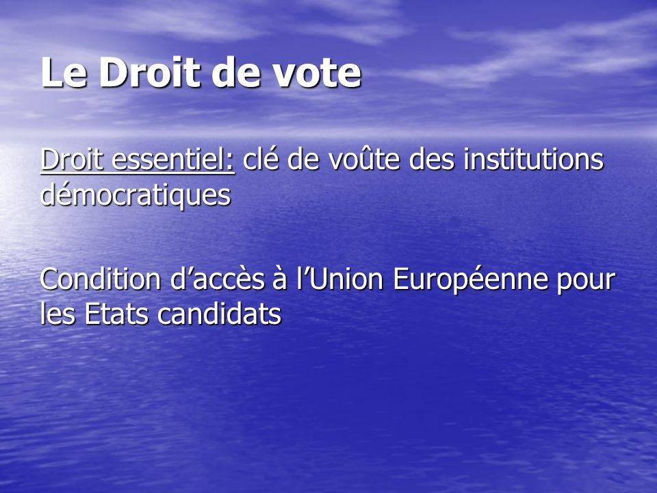 Le Droit de vote Droit essentiel: clé de voûte des institutions démocratiques.