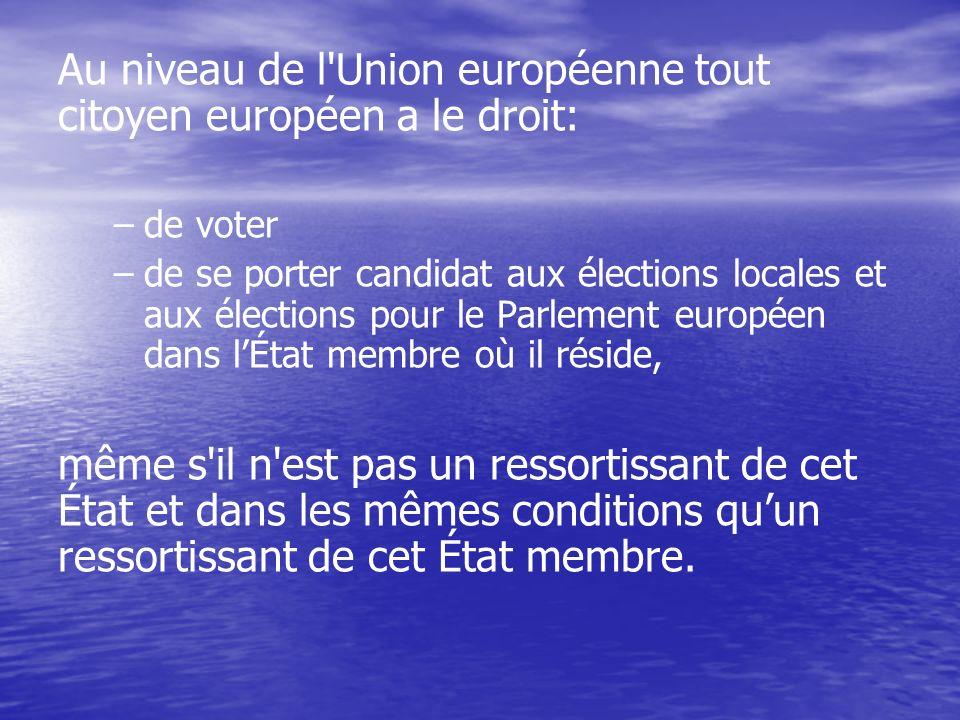 Au niveau de l Union européenne tout citoyen européen a le droit: