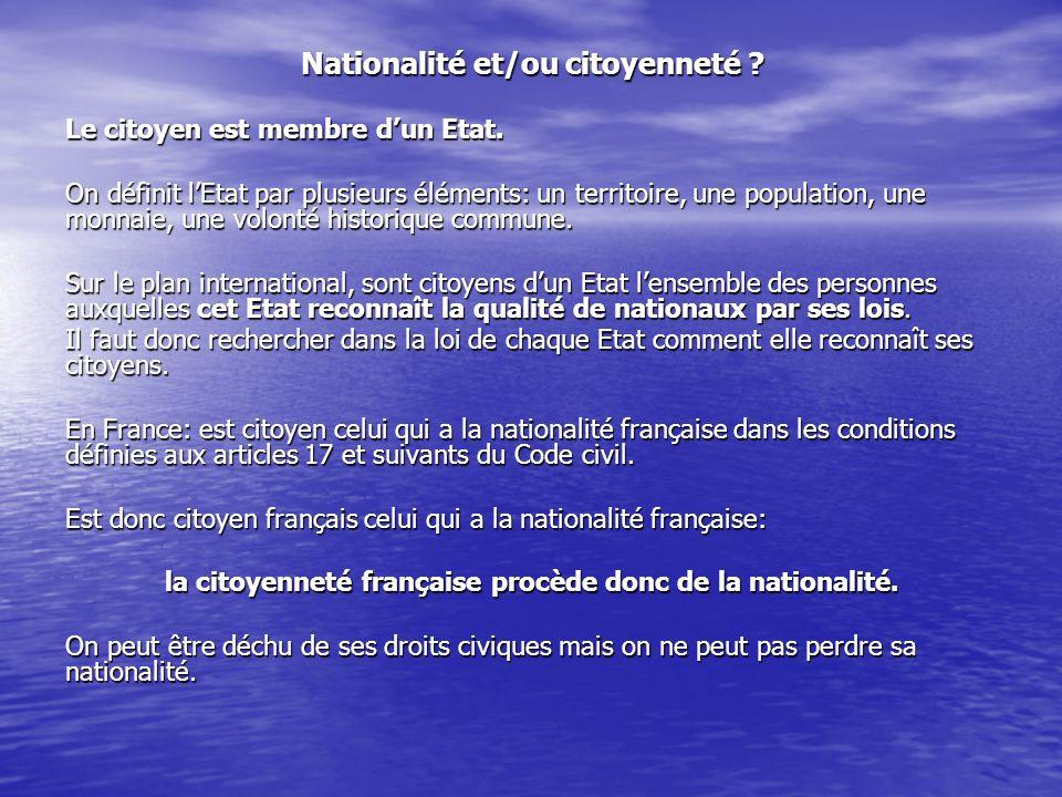 Nationalité et/ou citoyenneté
