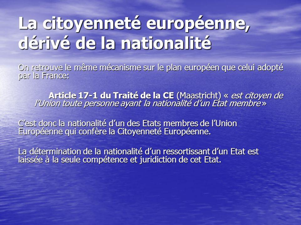 La citoyenneté européenne, dérivé de la nationalité