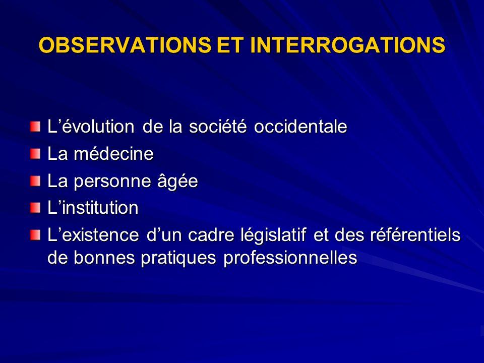 OBSERVATIONS ET INTERROGATIONS