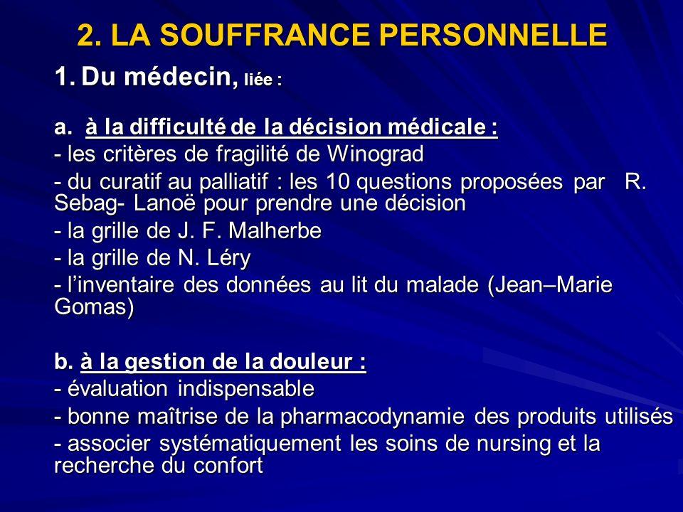 2. LA SOUFFRANCE PERSONNELLE