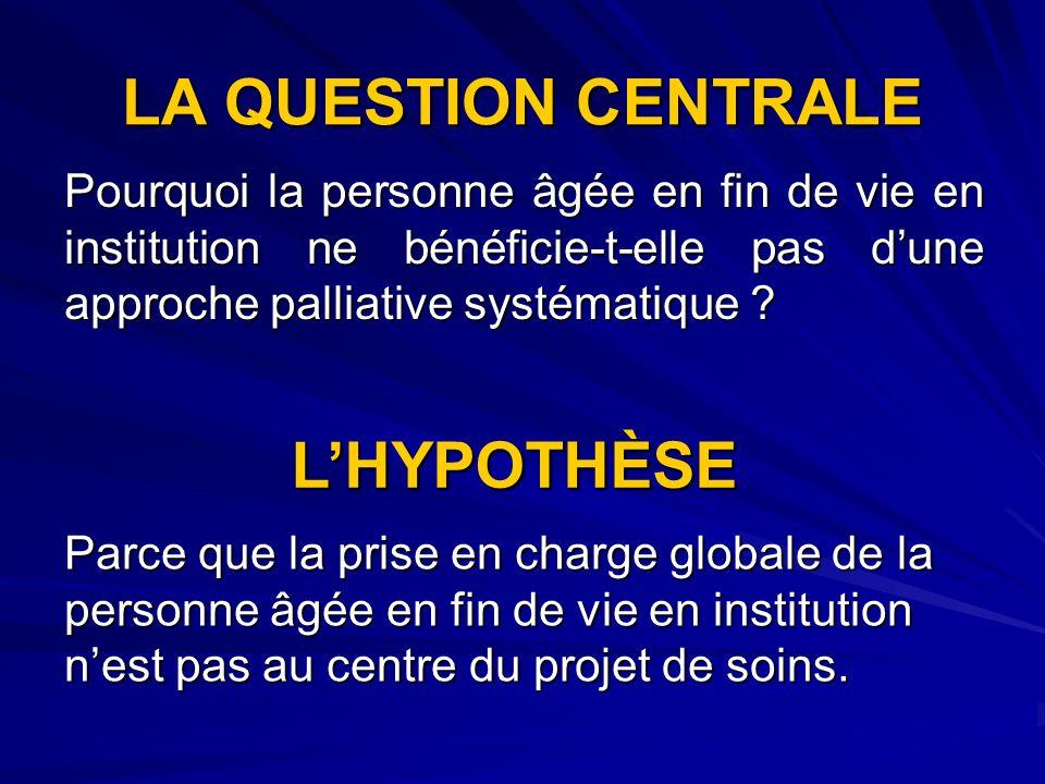LA QUESTION CENTRALE L'HYPOTHÈSE