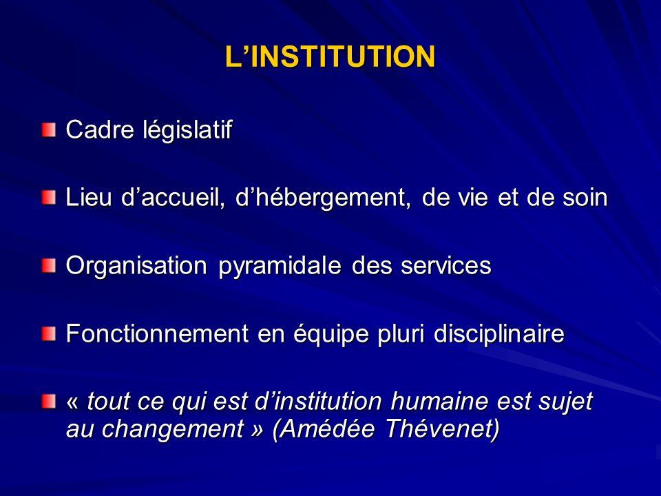 L'INSTITUTION Cadre législatif