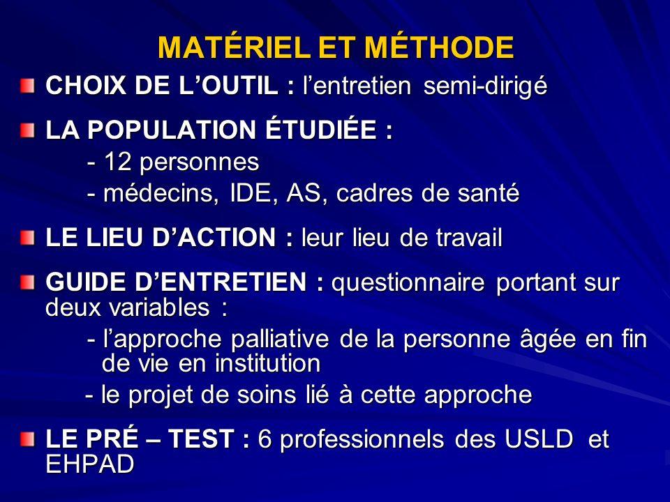 MATÉRIEL ET MÉTHODE CHOIX DE L'OUTIL : l'entretien semi-dirigé