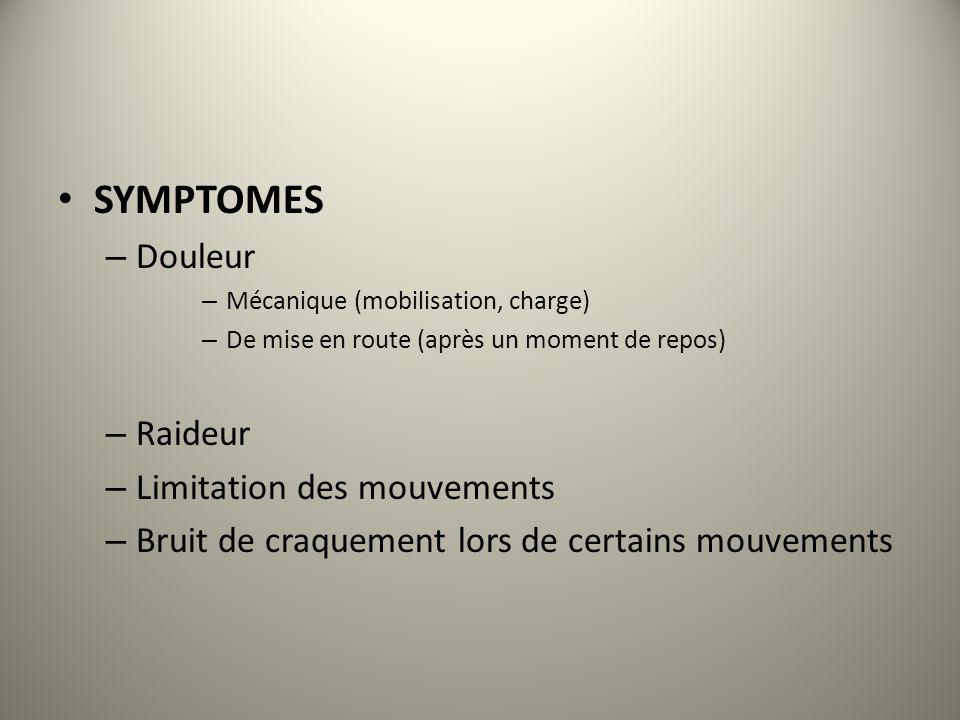 SYMPTOMES Douleur Raideur Limitation des mouvements