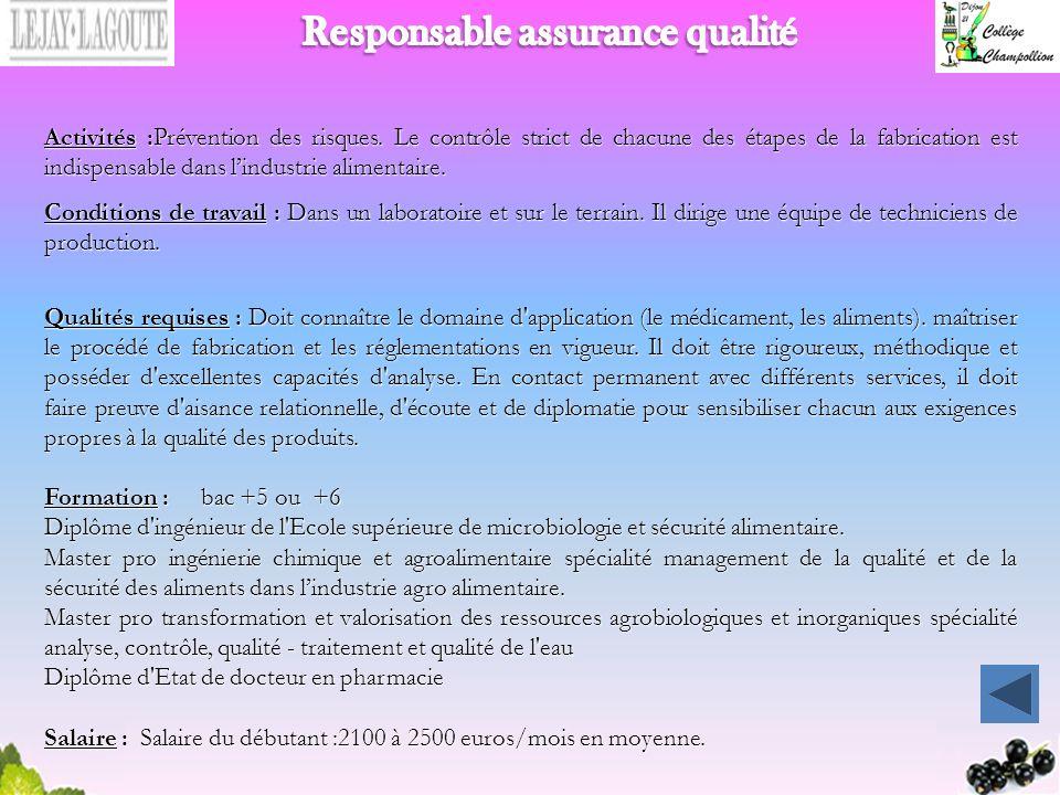 Responsable assurance qualité