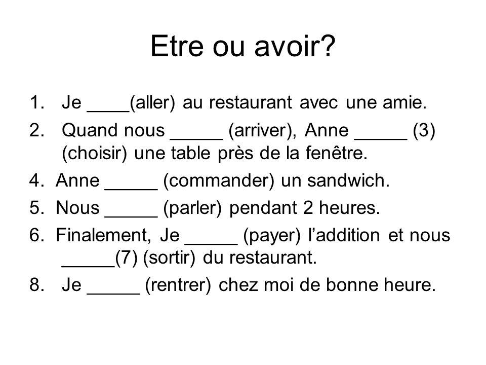 Etre ou avoir Je ____(aller) au restaurant avec une amie.