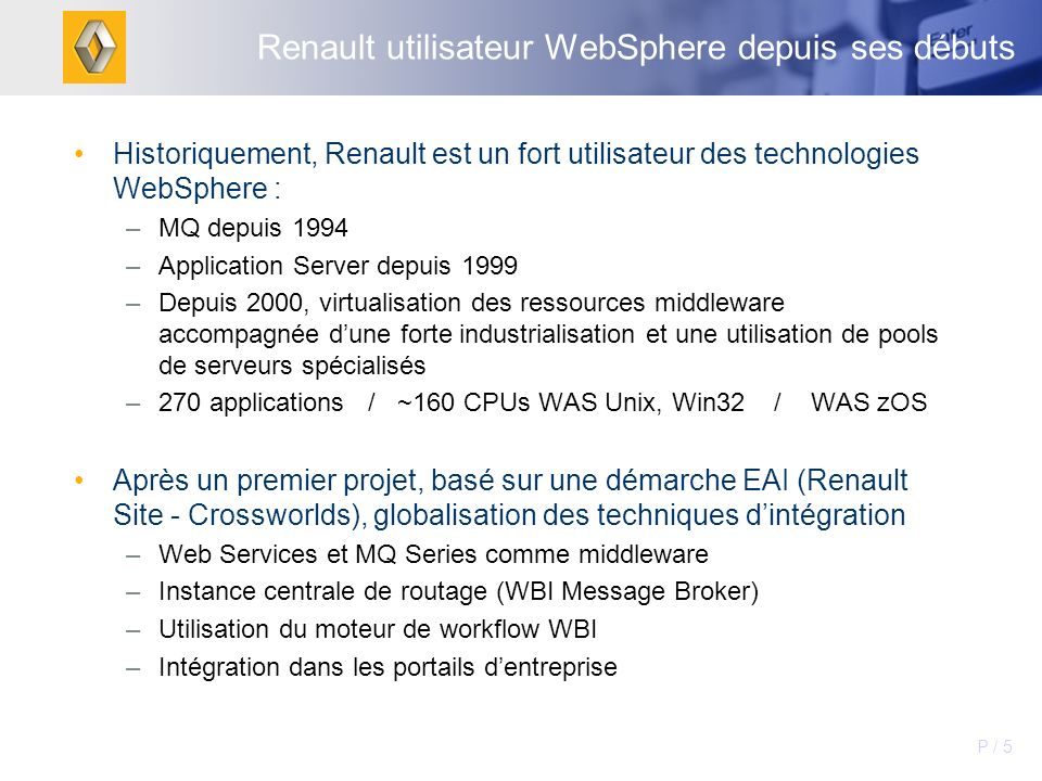 Renault utilisateur WebSphere depuis ses débuts